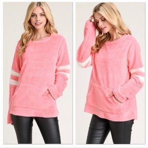 Pink Faux Fur Pullover With Varsity Stripes